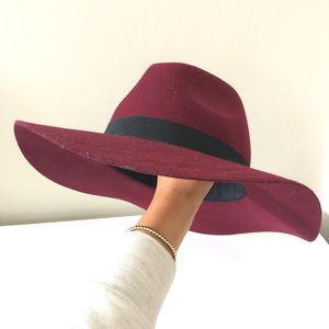Accessories - Maroon Red 100% Wool Felt Panama Floppy Hat OS